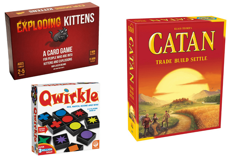 catan, quirkle board games for kids