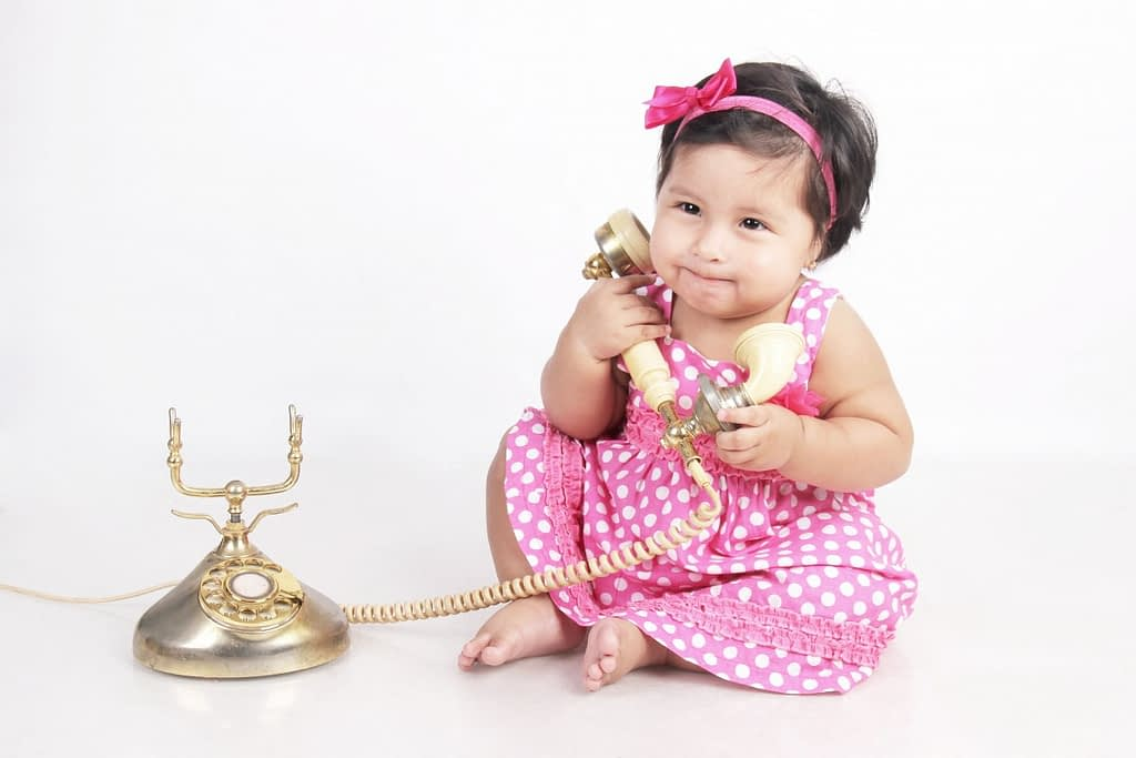 girl calling - areas to build your child's language